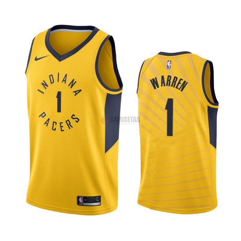 Camisetas NBA Nike Indiana Pacers NO.1 T.J. Warren Gray Amarillo Statement 2019-20