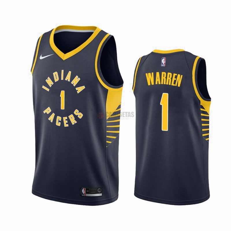Camisetas NBA Nike Indiana Pacers NO.1 T.J. Warren Gray Marino Icon 2019-20