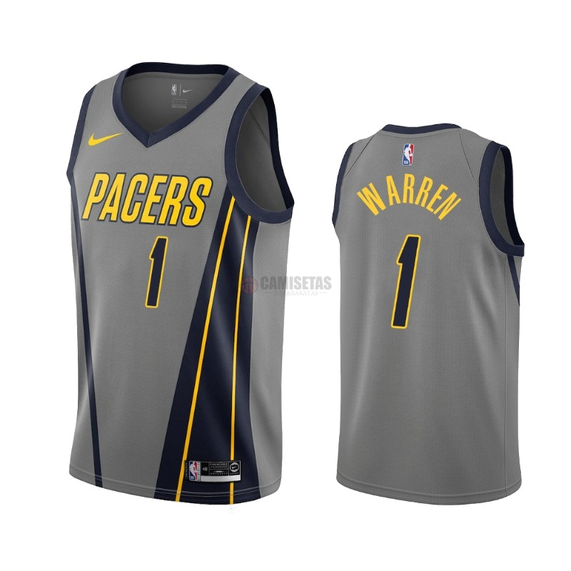 Camisetas NBA Nike Indiana Pacers NO.1 T.J. Warren Gray Nike Gris Ciudad 2019-20