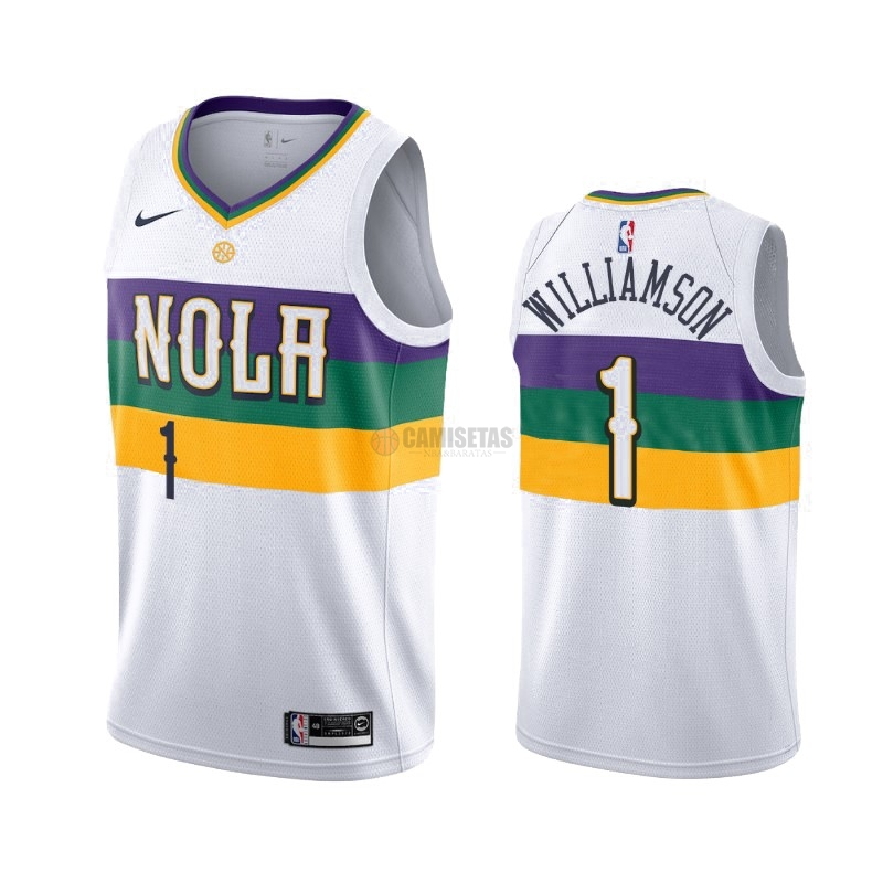 Camisetas NBA Nike New Orleans Pelicans NO.1 Zion Williamson Nike Blanco Ciudad 2019-20
