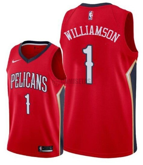 Camisetas NBA Nike New Orleans Pelicans NO.1 Zion Williamson Rojo 2019-20