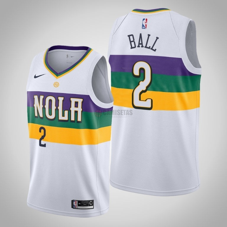Camisetas NBA Nike New Orleans Pelicans NO.2 Lonzo Ball Blanco Ciudad 2019-20