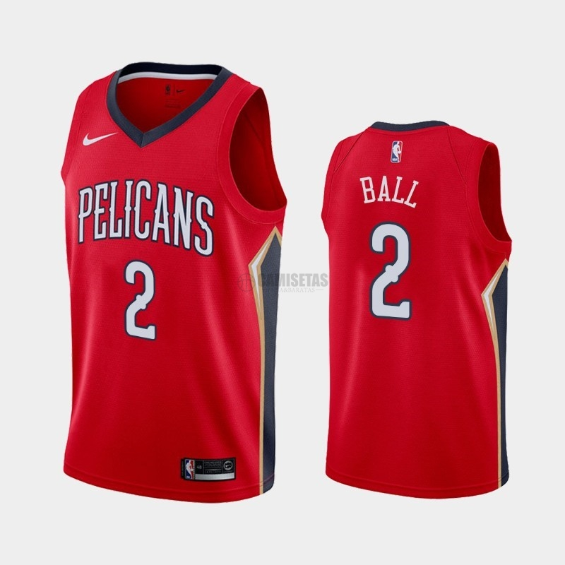 Camisetas NBA Nike New Orleans Pelicans NO.2 Lonzo Ball Rojo Statement 2019-20