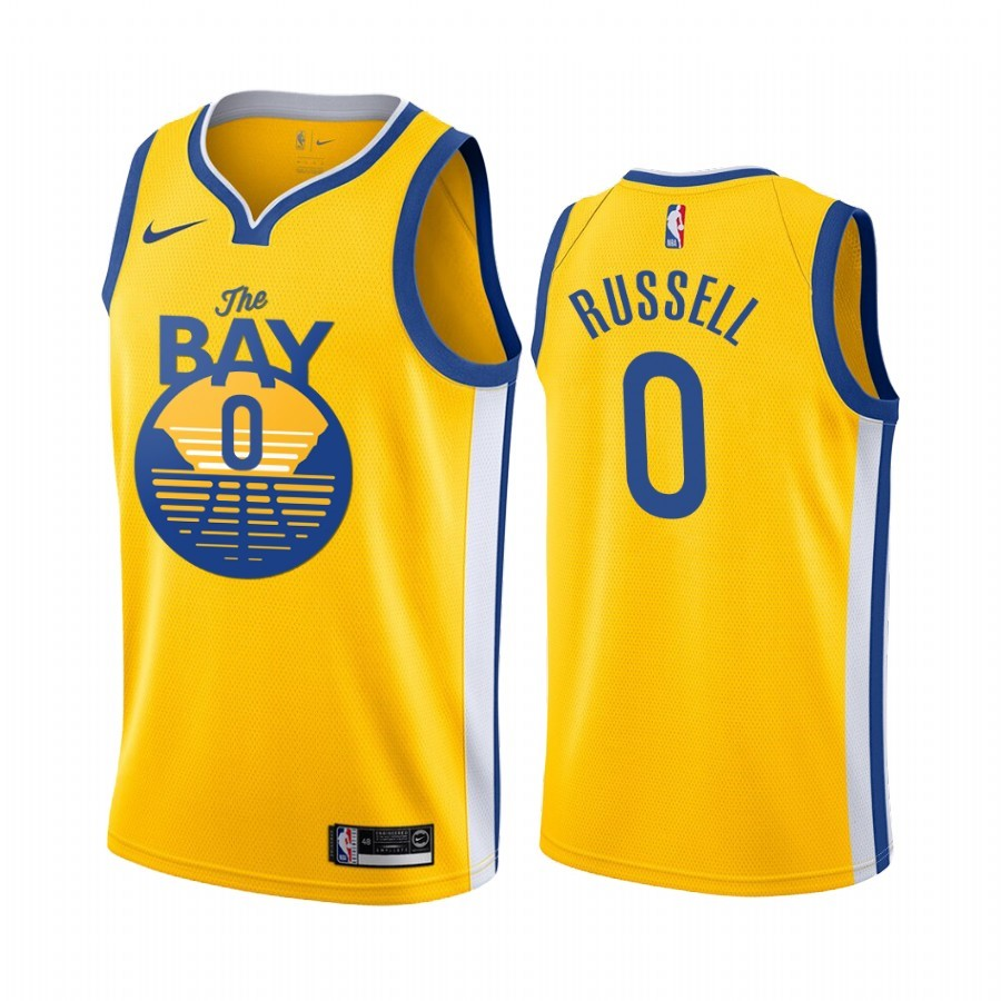 Camisetas NBA Nike Golden State Warriors NO.0 D'Angelo Russell Amarillo Ciudad 2019-20