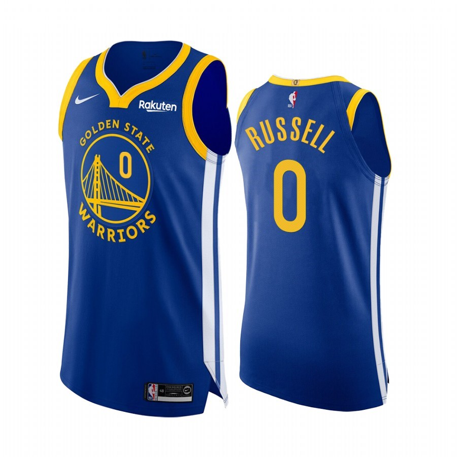 Camisetas NBA Nike Golden State Warriors NO.0 D'Angelo Russell Azul Icon Edition