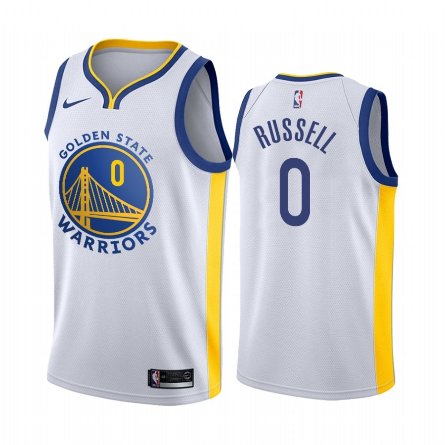 Camisetas NBA Nike Golden State Warriors NO.0 D'Angelo Russell Blanco Association