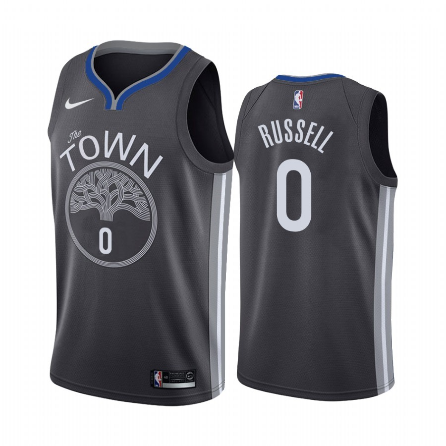Camisetas NBA Nike Golden State Warriors NO.0 D'Angelo Russell Negro Statement 2019-20