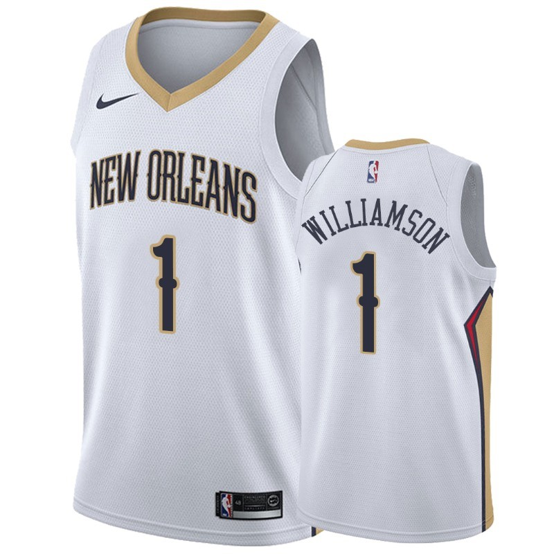 Camisetas NBA Nike New Orleans Pelicans NO.1 Zion Williamson Blanco Association