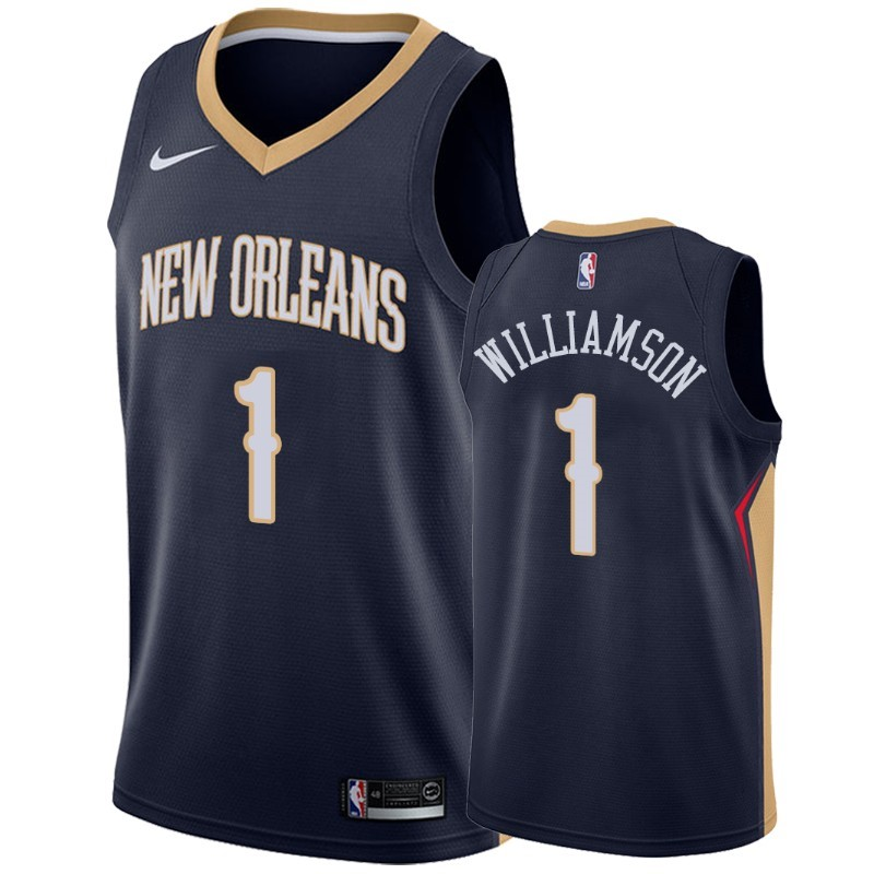 Camisetas NBA Nike New Orleans Pelicans NO.1 Zion Williamson Marino Icon