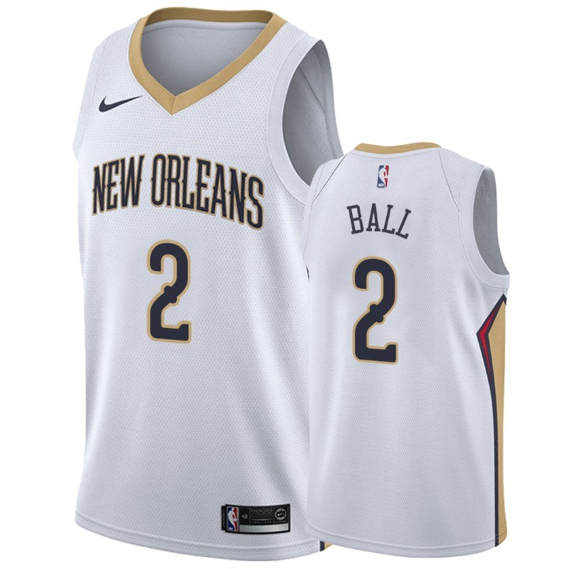 Camisetas NBA Nike New Orleans Pelicans NO.2 Lonzo Ball Blanco Association 2019-20