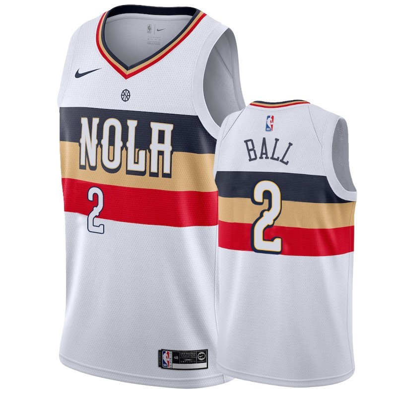 Camisetas NBA Nike New Orleans Pelicans NO.2 Lonzo Ball Blanco Earned 2019-20
