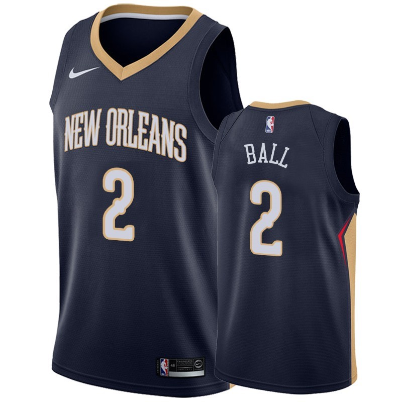 Camisetas NBA Nike New Orleans Pelicans NO.2 Lonzo Ball Marino Icon 2019-20