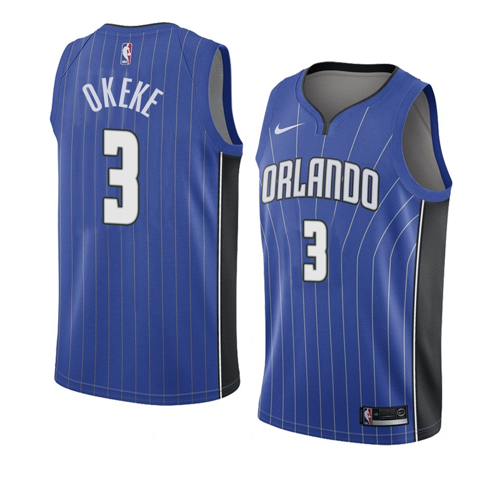 Camisetas NBA Nike Orlando Magic NO.3 Chuma Okeke Azul Icon 2019-20