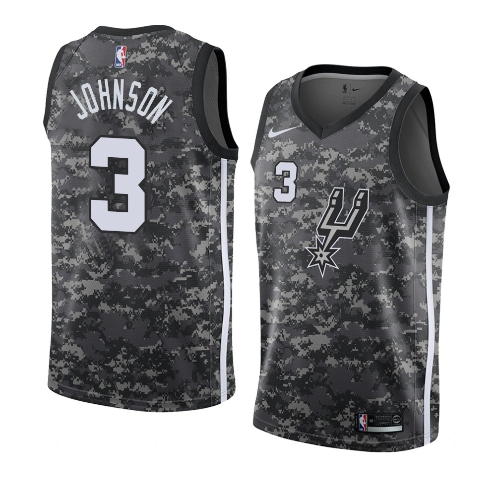 Camisetas NBA Nike San Antonio Spurs NO.3 Keldon Johnson Camuflaje Ciudad 2019-20
