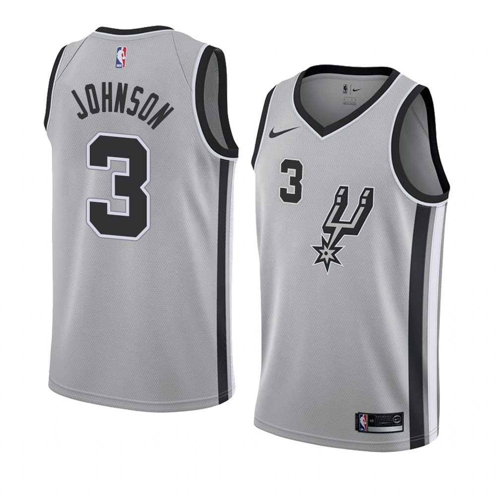 Camisetas NBA Nike San Antonio Spurs NO.3 Keldon Johnson Gris Statement 2019-20