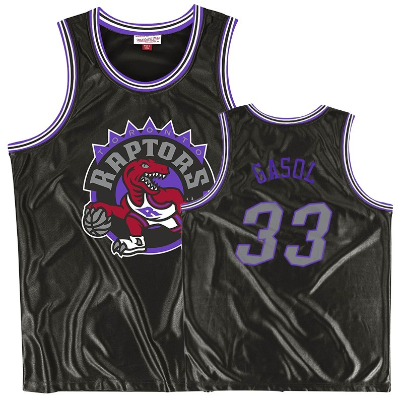Camisetas NBA Toronto Raptors NO.33 Marc Gasol Negro Throwback