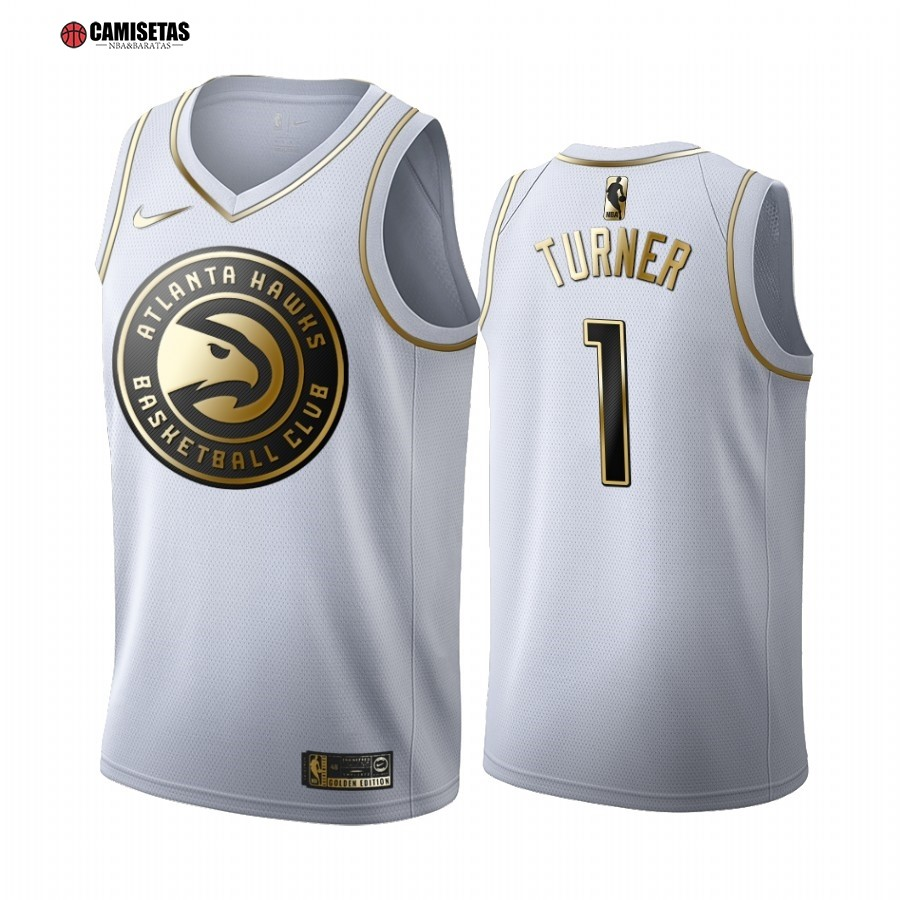 Camisetas NBA Nike Atlanta Hawks NO.1 Evan Turner Blanco Oro 2019-20