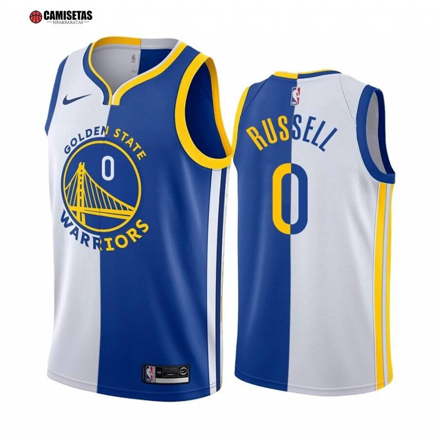 Camisetas NBA Nike Golden State Warriors NO.0 D'Angelo Russell Azul Blanco Split Edition 2019-20
