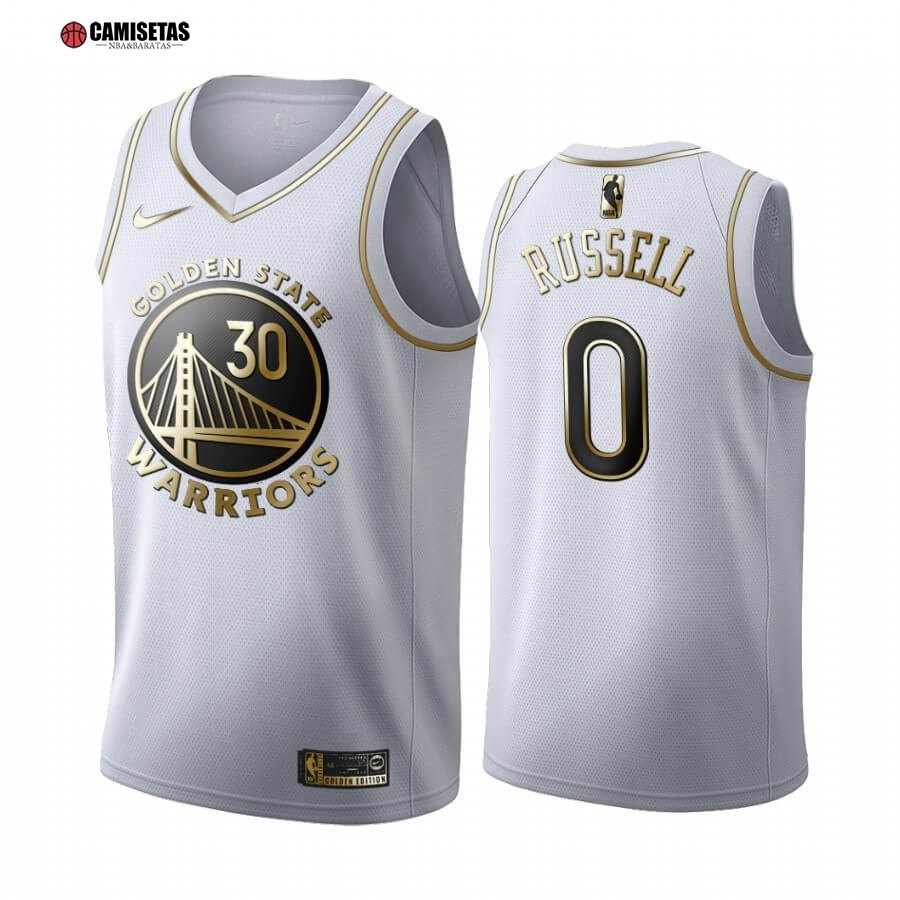 Camisetas NBA Nike Golden State Warriors NO.0 D'Angelo Russell Blanco Oro 2019-20