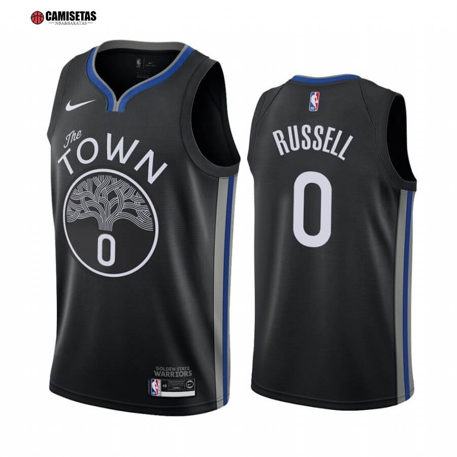 Camisetas NBA Nike Golden State Warriors NO.0 D'Angelo Russell Nike Negro Ciudad 2019-20