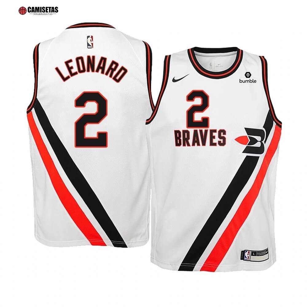 Camisetas NBA Niño Edición Ganada Los Angeles Clippers NO.2 Kawhi Leonard Blanco