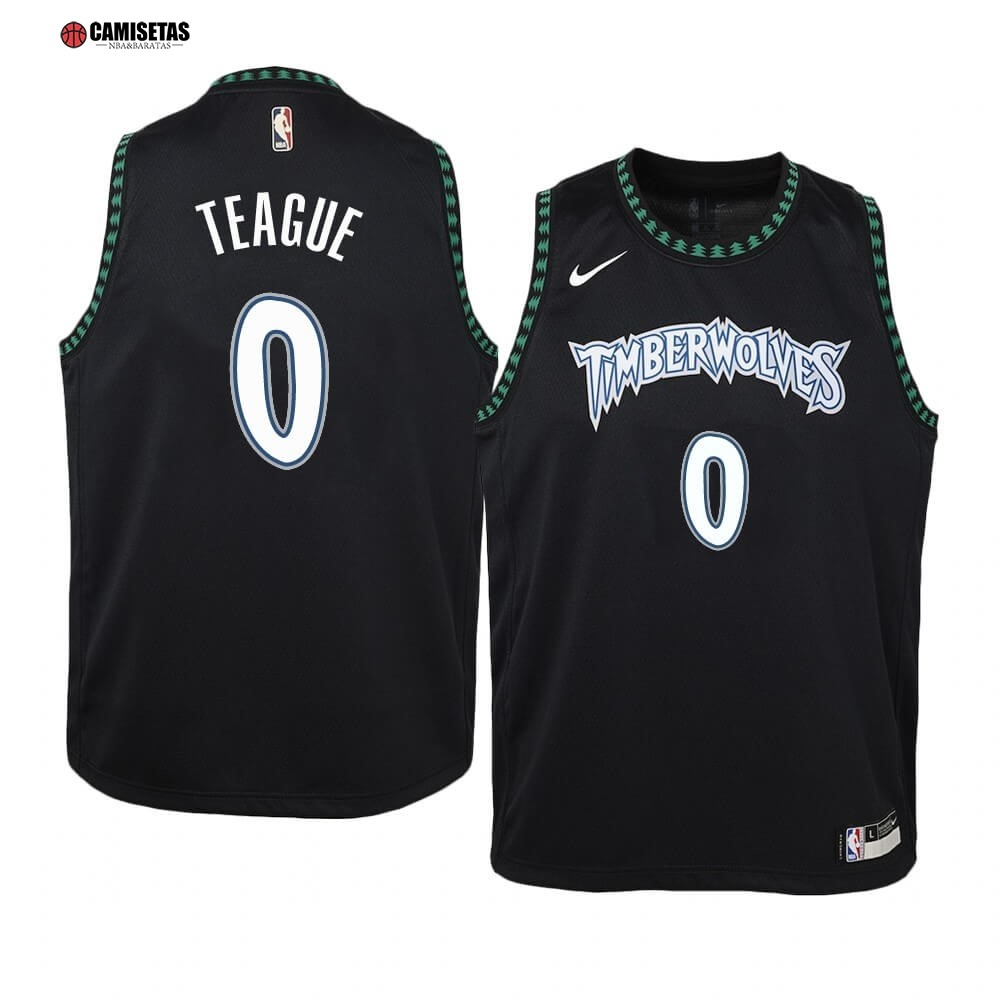 Camisetas NBA Niño Minnesota Timberwolves NO.0 Jeff Teague Negro Hardwood Classics