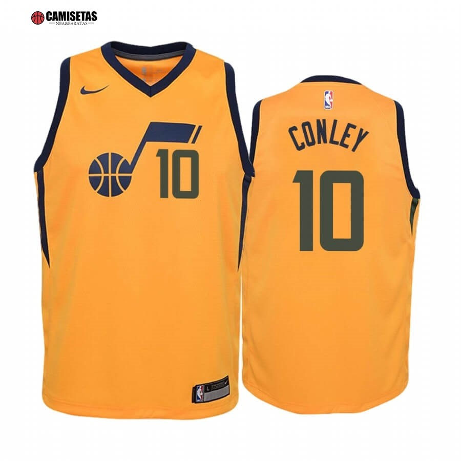 Camisetas NBA Niño Utah Jazz NO.10 Mike Conley Amarillo Statement 2019-20