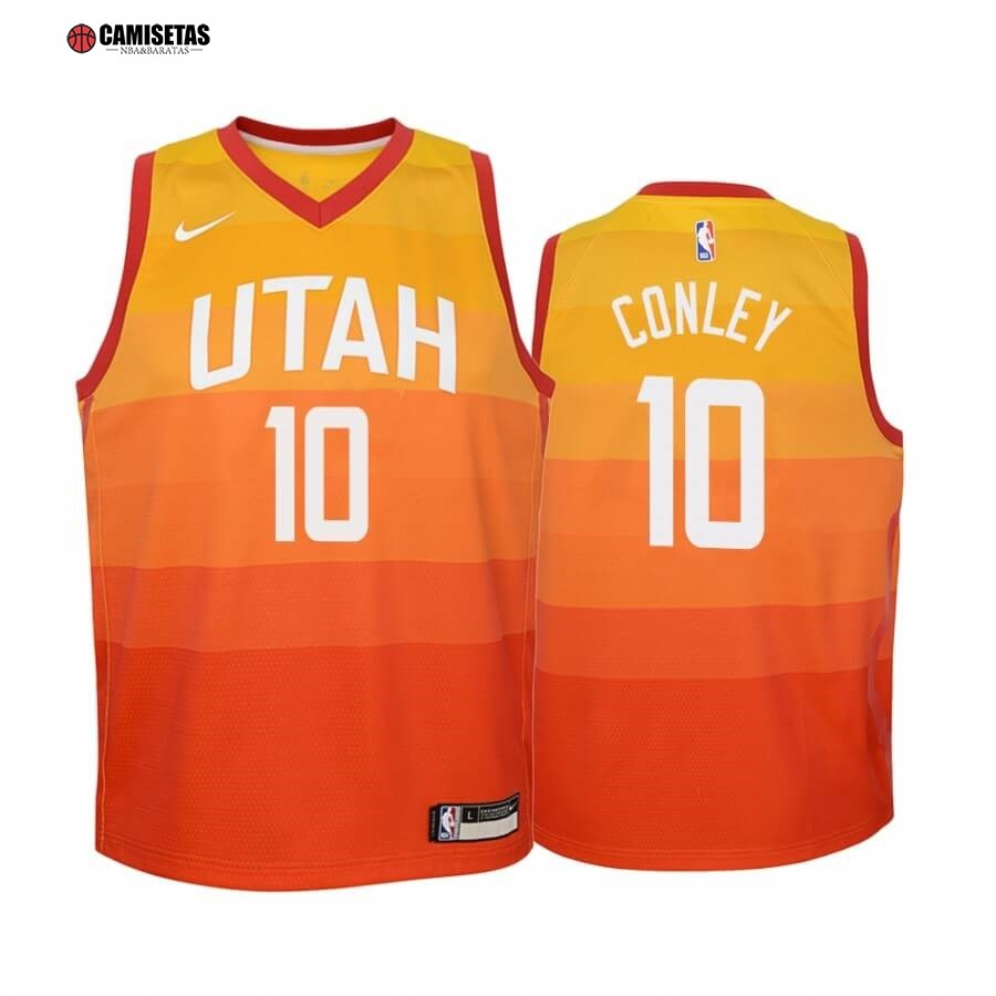 Camisetas NBA Niño Utah Jazz NO.10 Mike Conley Nike Amarillo Ciuda 2019-20