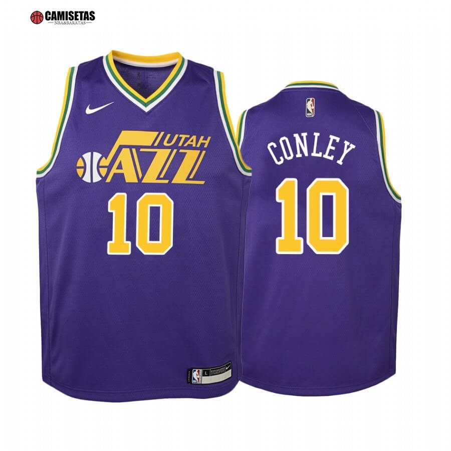 Camisetas NBA Niño Utah Jazz NO.10 Mike Conley Purpura Hardwood Classics