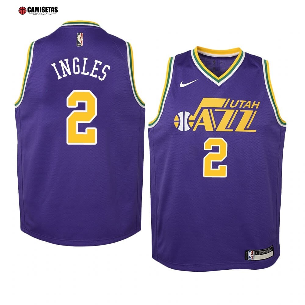 Camisetas NBA Niño Utah Jazz NO.2 Joe Ingles Purpura Hardwood Classics