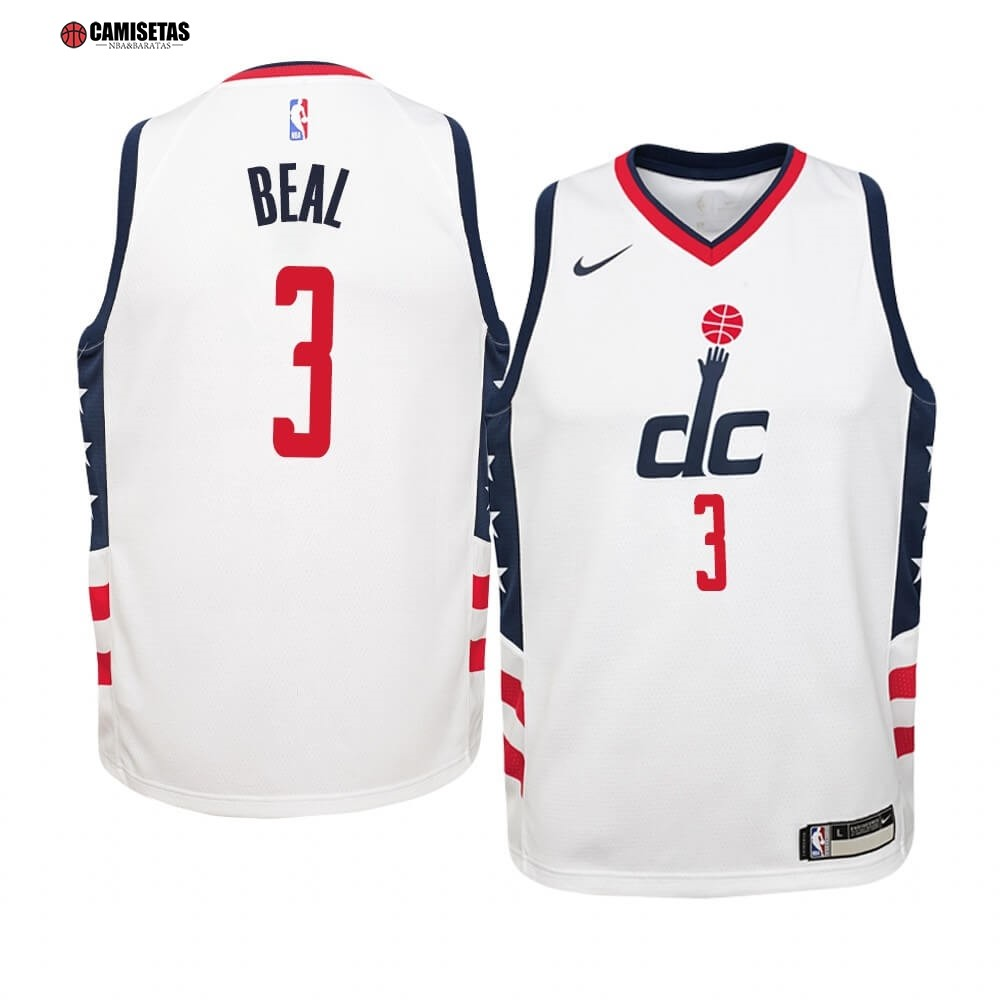 Camisetas NBA Niño Washington Wizards NO.3 Bradley Beal Nike Blanco Ciudad 2019-20