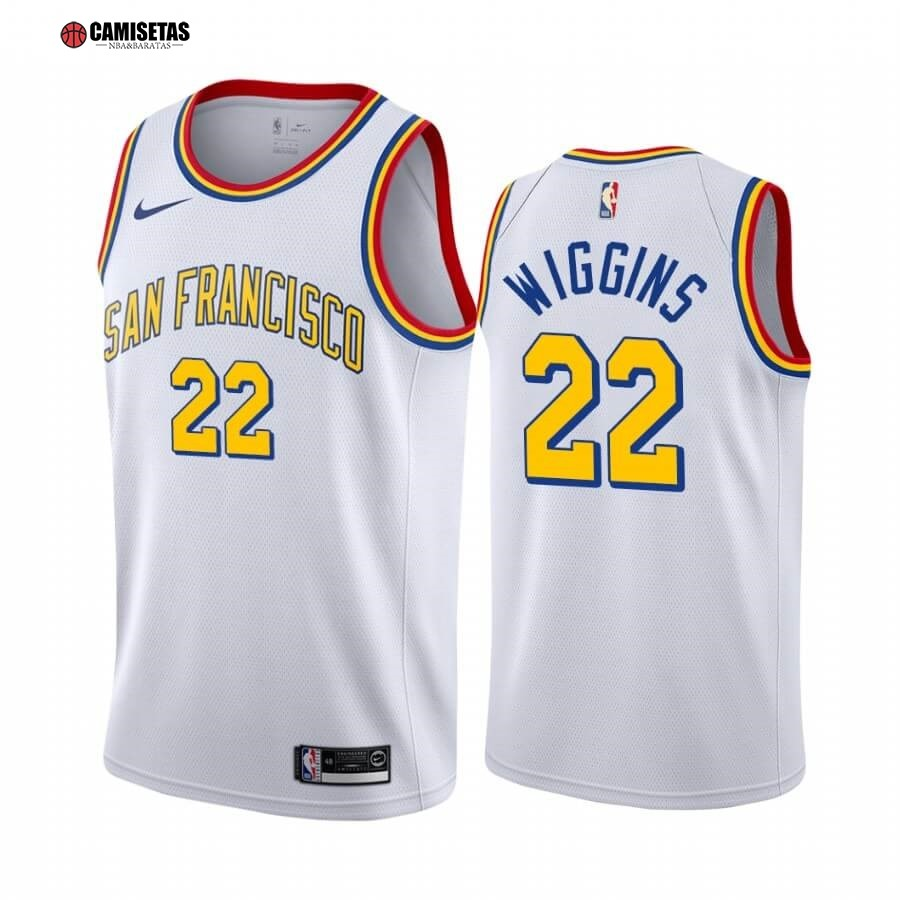 Camisetas NBA Golden State Warriors NO.22 Andrew Wiggins Blanco Classics Edition 19 20