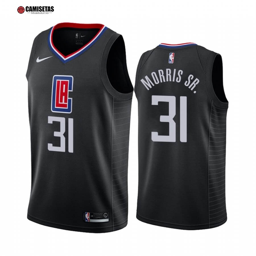 Camisetas NBA Nike Los Angeles Clippers NO.31 Marcus Morris Sr. Negro Statement 2019-20