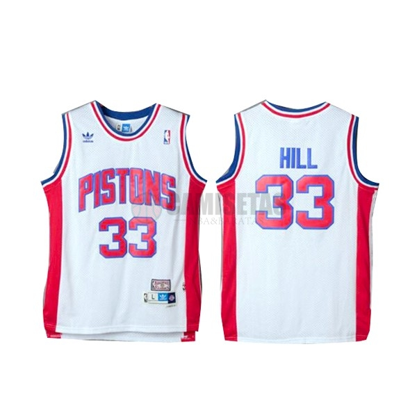 Camisetas NBA Detroit Pistons NO.33 Grant Hill Retro Blanco Barats