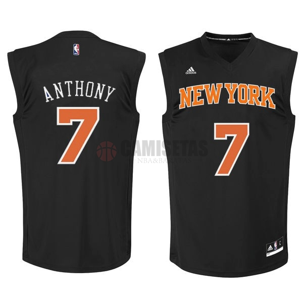Camisetas NBA New York Knicks NO.7 Carmelo Anthony Negro Naranja Barats