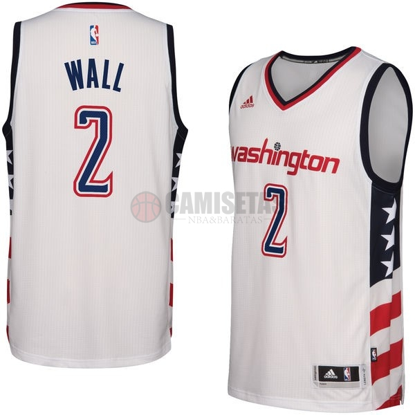 Camisetas NBA Washington Wizards NO.2 John Wall Blanco 2016-2017 Barats