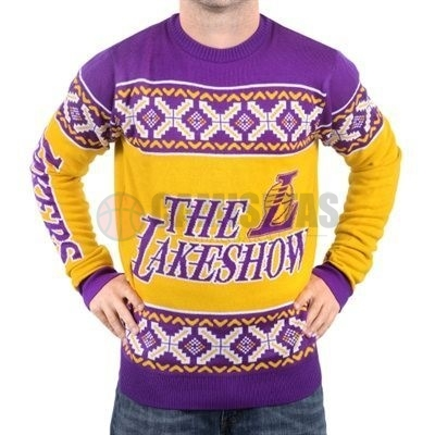 Unisex Ugly Sweater Los Angeles Lakers Amarillo Púrpura Barats