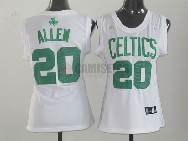 Camisetas NBA Mujer Boston Celtics NO.20 Ray Allen Blanco Barats