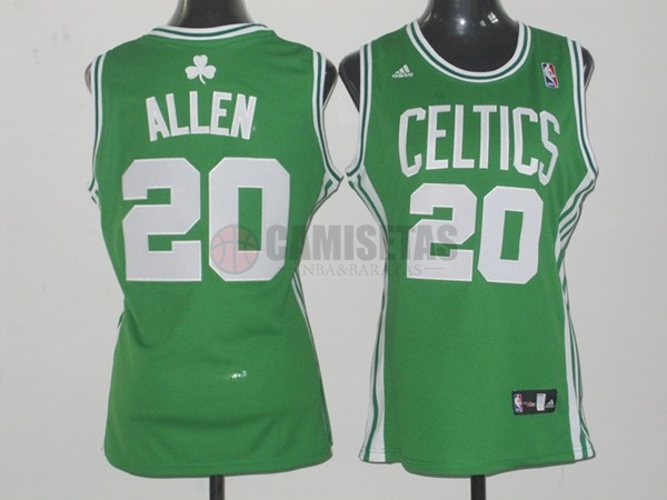 Camisetas NBA Mujer Boston Celtics NO.20 Ray Allen Verde Barats