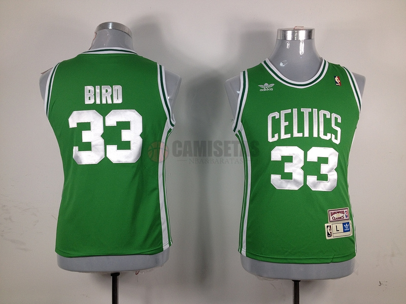 Camisetas NBA Mujer Boston Celtics NO.33 Larry Joe Bird Verde Barats