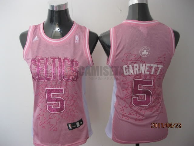 Camisetas NBA Mujer Boston Celtics NO.5 Kevin Garnett Rose Barats