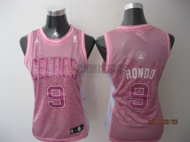 Camisetas NBA Mujer Boston Celtics NO.9 Rajon Rondo Rose Barats