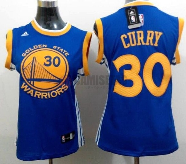 Camisetas NBA Mujer Golden State Warriors NO.30 Stephen Curry Azul Amarillo Barats