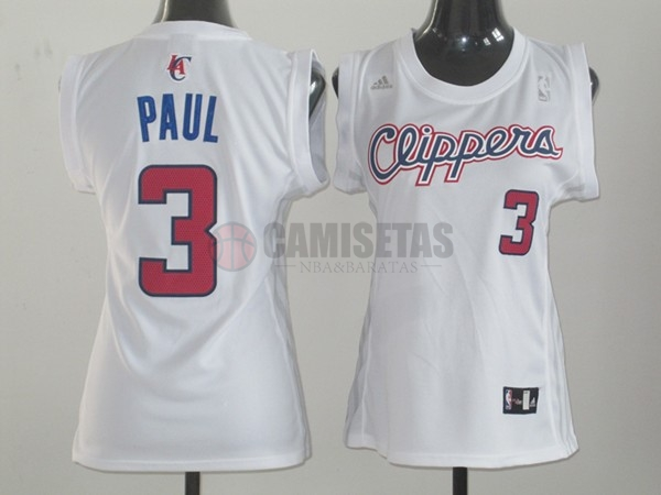 Camisetas NBA Mujer Los Angeles Clippers NO.3 Chris Paul Blanco Barats