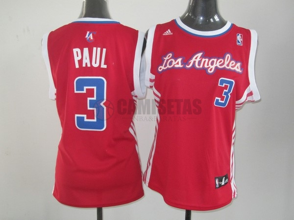 Camisetas NBA Mujer Los Angeles Clippers NO.3 Chris Paul Rojo Barats