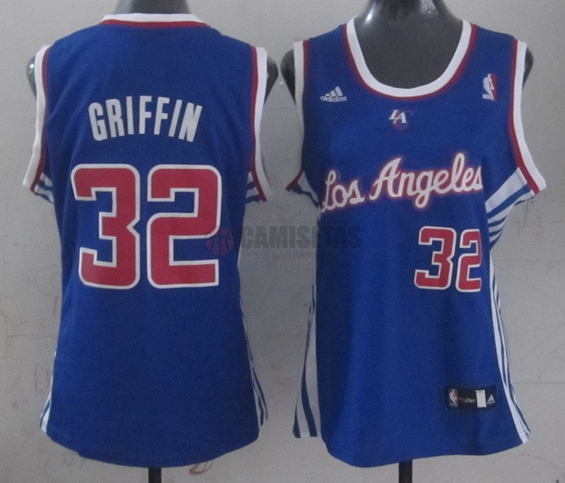 Camisetas NBA Mujer Los Angeles Clippers NO.32 Blake Griffin Azul Barats