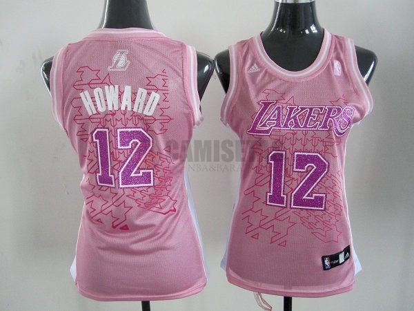 Camisetas NBA Mujer Los Angeles Lakers NO.12 Dwight Howard Rose Barats