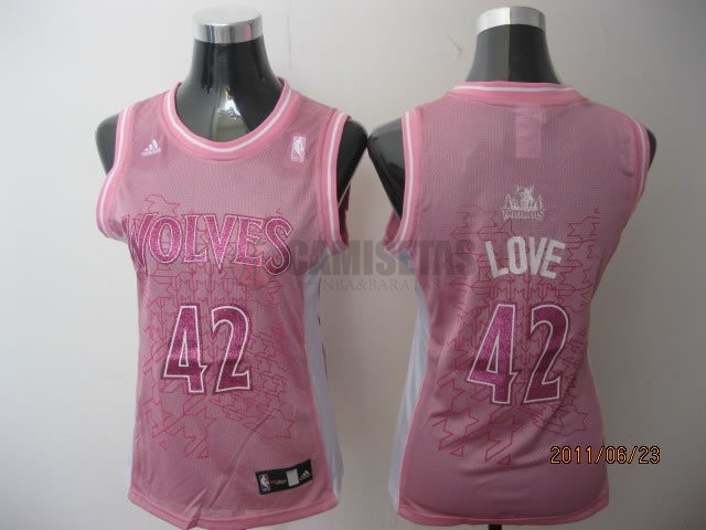 Camisetas NBA Mujer Minnesota Timberwolves NO.42 Kevin Love Rose Barats