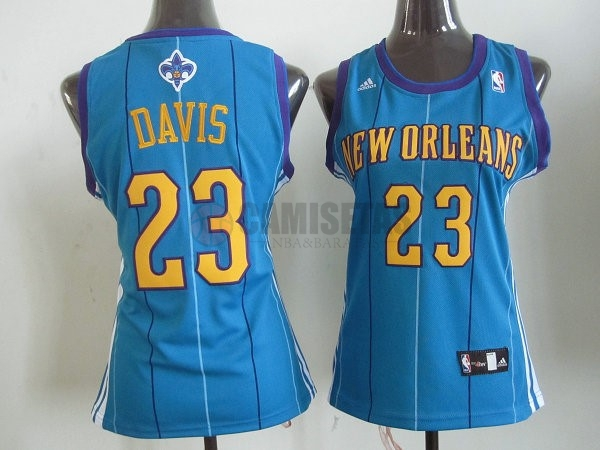 Camisetas NBA Mujer New Orleans Pelicans NO.23 Anthony Davis Azul Barats