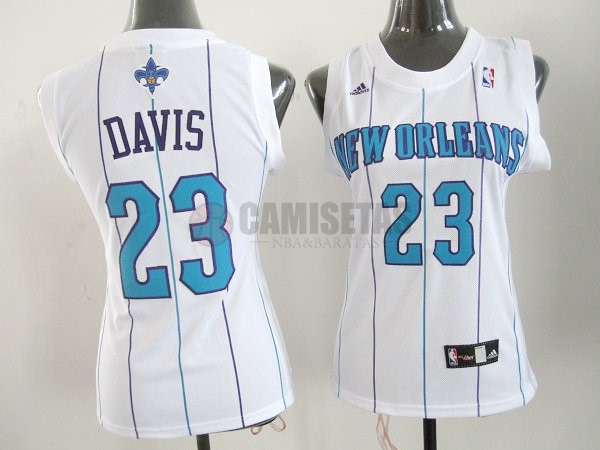 Camisetas NBA Mujer New Orleans Pelicans NO.23 Anthony Davis Blanco Barats